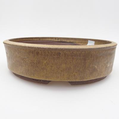 Ceramic bonsai bowl - 23 x 23 x 6 cm, brown-yellow color - 1