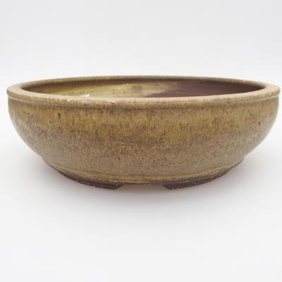 Ceramic bonsai bowl - 22 x 22 x 6,5 cm, brown-yellow color - 1