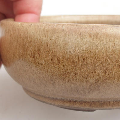 Ceramic bonsai bowl 11 x 11 x 4,5 cm, color beige - 1