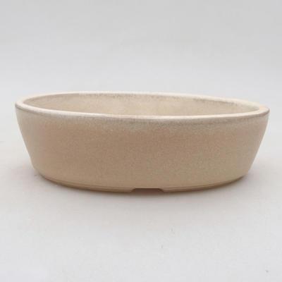 Ceramic bonsai bowl 14 x 9.5 x 4 cm, beige color - 1