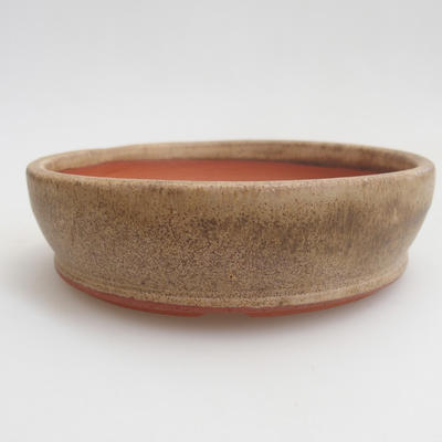 Ceramic bonsai bowl 11 x 11 x 3 cm, color beige - 1