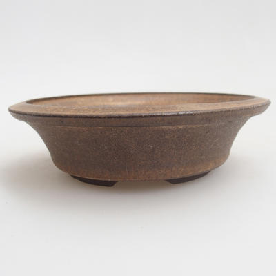 Ceramic bonsai bowl 10.5 x 10.5 x 3 cm, brown color - 1