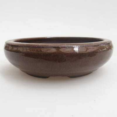 Ceramic bonsai bowl 11,5 x 11,5 x 3,5 cm, color brown - 1