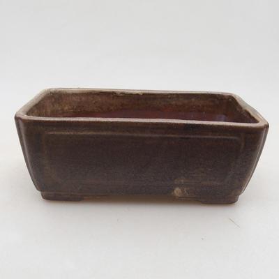 Ceramic bonsai bowl 13 x 9 x 4.5 cm, brown color - 1