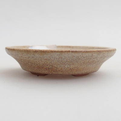 Ceramic bonsai bowl 6.5 x 6.5 x 1.5 cm, color beige - 1