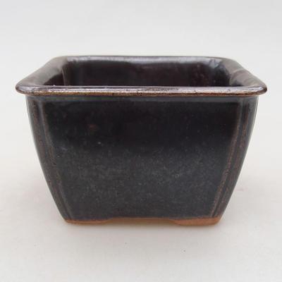 Ceramic bonsai bowl 8 x 8 x 5 cm, metal color - 1