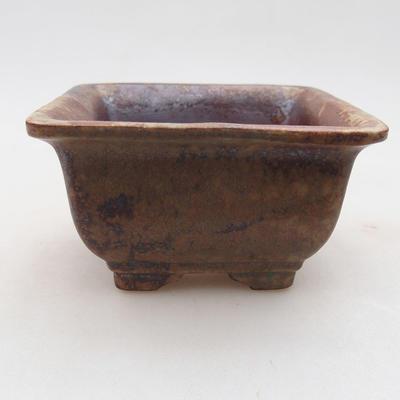 Ceramic bonsai bowl 9 x 9 x 5.5 cm, brown color - 1