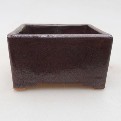 Ceramic bonsai bowl 8 x 8 x 4.5 cm, brown color - 1