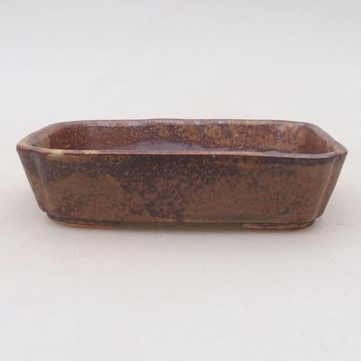 Ceramic bonsai bowl 12.5 x 9.5 x 3 cm, color brown-green - 2nd quality - 1