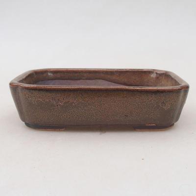 Ceramic bonsai bowl 12.5 x 9.5 x 3 cm, brown color - 2nd quality - 1