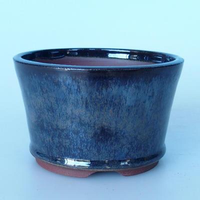 Ceramic bonsai bowl 12 x 12 x 7,5 cm brown-blue color - 1