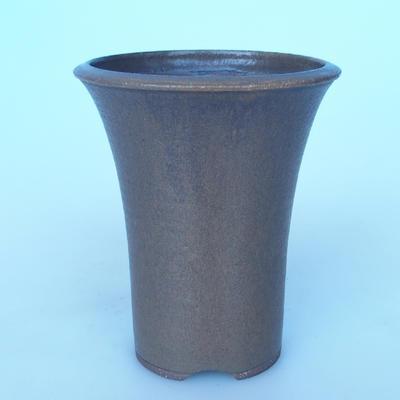 Ceramic bonsai bowl 15,5 x 15,5 x 17,5 cm color brown - 1