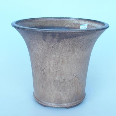 Ceramic bonsai bowl 25 x 25 x 21 cm color brown - 1