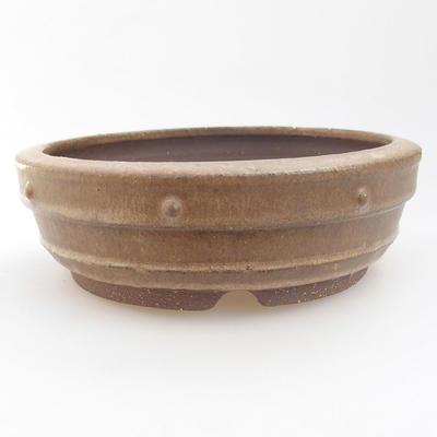 Ceramic bonsai bowl - 19 x 19 x 5,5 cm, color beige - 1