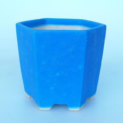 Ceramic bonsai bowl 9 x 10 x 9 cm color blue - 1