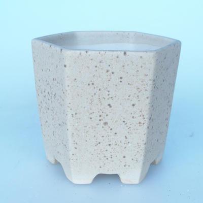 Ceramic bonsai bowl 9 x 10 x 9 cm color beige - 1
