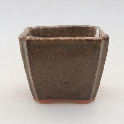 Ceramic bonsai bowl 6.5 x 6.5 x 5.5 cm, color brown-green - 2nd quality - 1