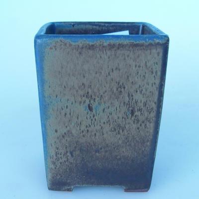 Ceramic bonsai bowl 8 x 8 x 10 cm brown-blue color - 1
