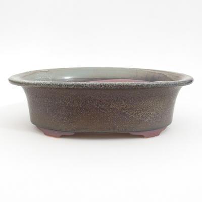 Ceramic bonsai bowl 23 x 18,5 x 6,5 cm, brown-blue color - 1