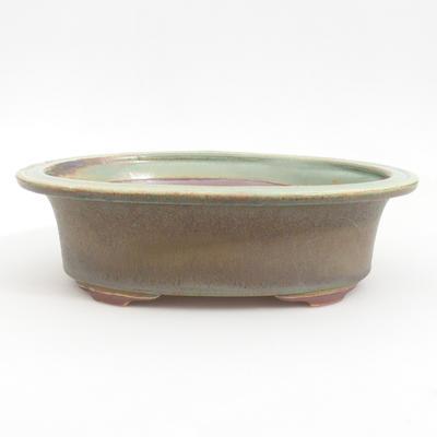 Ceramic bonsai bowl 23 x 18,5 x 6,5 cm, brown-green color - 1