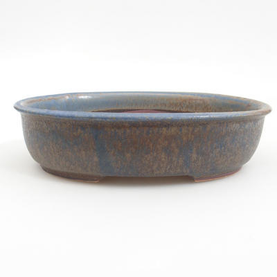 Ceramic bonsai bowl 19 x 15 x 4,5 cm, brown-blue color - 1