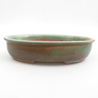 Ceramic bonsai bowl 22 x 17 x 5 cm, brown-green color - 1