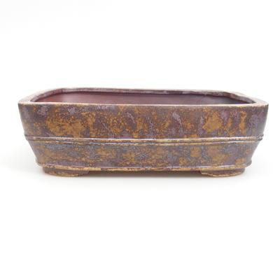 Ceramic bonsai bowl 25 x 19 x 7 cm, brown-green color - 1