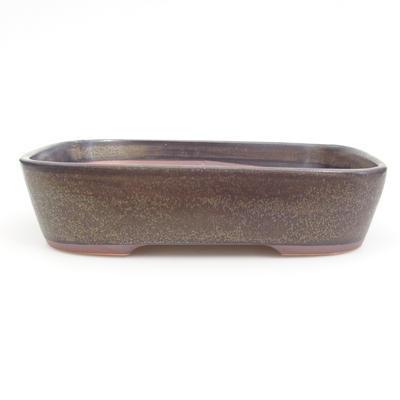 Ceramic bonsai bowl 23,5 x 18 x 5,5 cm, brown-blue color - 1