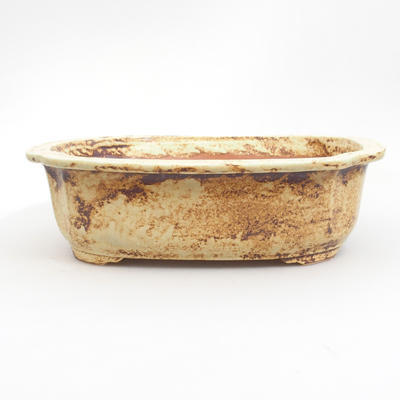 Ceramic bonsai bowl 25 x 21 x 7,5 cm, brown-yellow color - 1