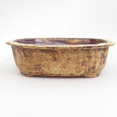 Ceramic bonsai bowl 25 x 21 x 7,5 cm, brown-yellow color - 1