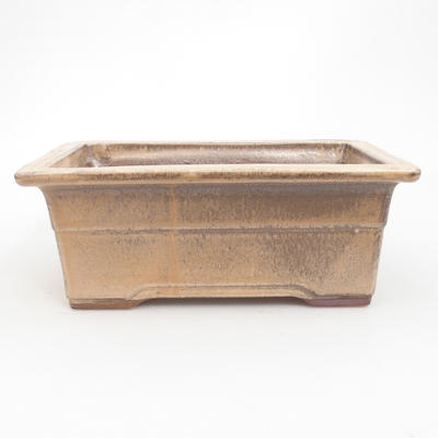 Ceramic bonsai bowl 19 x 14 x 8 cm, brown-beige color - 1