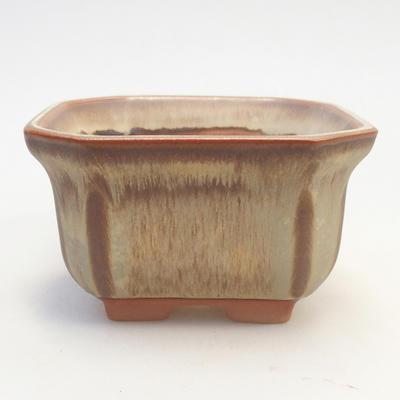 Bonsai bowl 11 x 11 x 6.5 cm, brown-beige color - 1