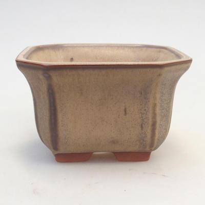 Bonsai bowl 12 x 12 x 7 cm, brown-beige color - 1