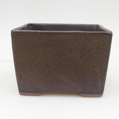 Ceramic bonsai bowl 2nd quality - 15,5 x 15,5 x 11 cm, color brown - 1