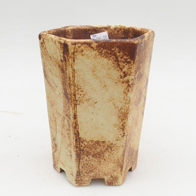 Ceramic bonsai bowl 2nd quality - 13 x 11 x 17 cm, brown-yellow color - 1