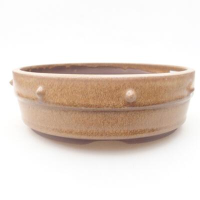 Ceramic bonsai bowl 17.5 x 17.5 x 5.5 cm, brown color - 1