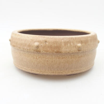 Ceramic bonsai bowl 13.5 x 13.5 x 5.5 cm, beige color - 1