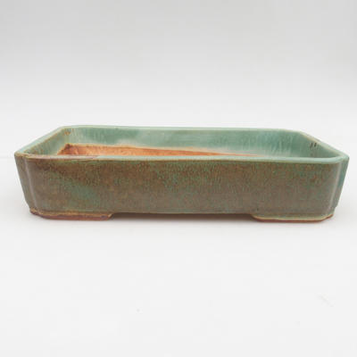 Ceramic bonsai bowl 2nd quality - 23,5 x 17 x 4,5 cm, brown-green color - 1