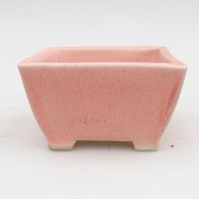 Ceramic bonsai bowl 2nd quality - 9 x 9 x 5,5 cm, pink color - 1