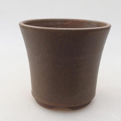 Ceramic bonsai bowl 10 x 10 x 9.5 cm, brown color - 1