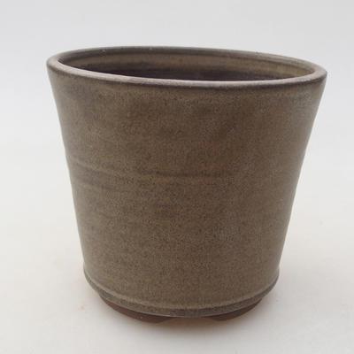 Ceramic bonsai bowl 9.5 x 9.5 x 8.5 cm, brown color - 1