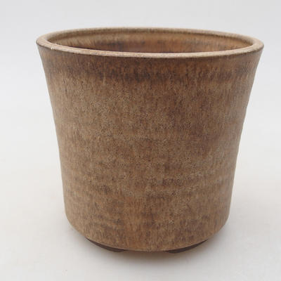 Ceramic bonsai bowl 9.5 x 9.5 x 9 cm, beige color - 1