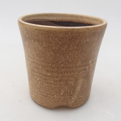 Ceramic bonsai bowl 9 x 9 x 9 cm, beige color - 1
