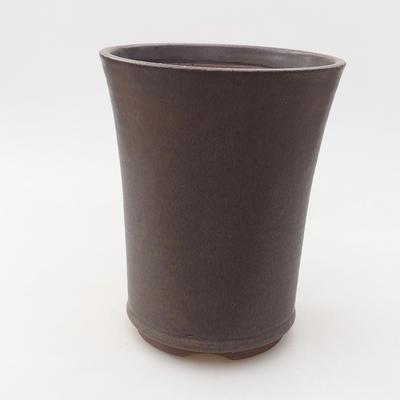 Ceramic bonsai bowl 13.5 x 13.5 x 17 cm, brown color - 1