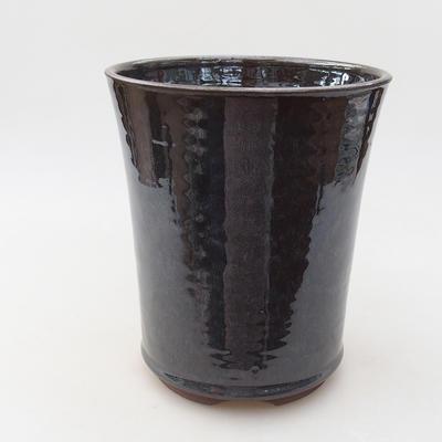 Ceramic bonsai bowl 14 x 14 x 16.5 cm, metal color - 1