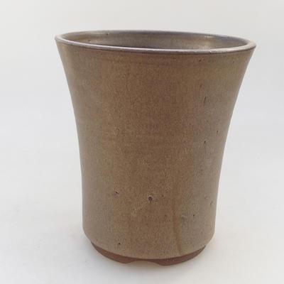 Ceramic bonsai bowl 14.5 x 14.5 x 16.5 cm, brown color - 1