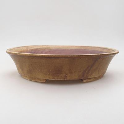 Ceramic bonsai bowl 26.5 x 21.5 x 6 cm, brown color - 1