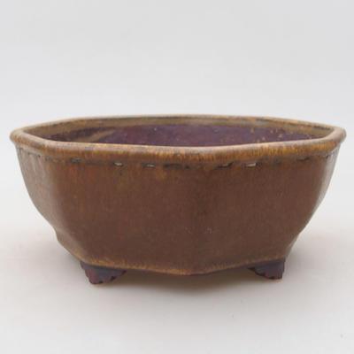 Ceramic bonsai bowl 15.5 x 15.5 x 6.5 cm, brown color - 1