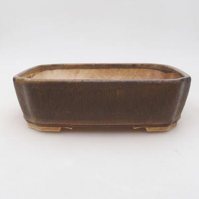 Ceramic bonsai bowl 20 x 17 x 5.5 cm, brown color - 1