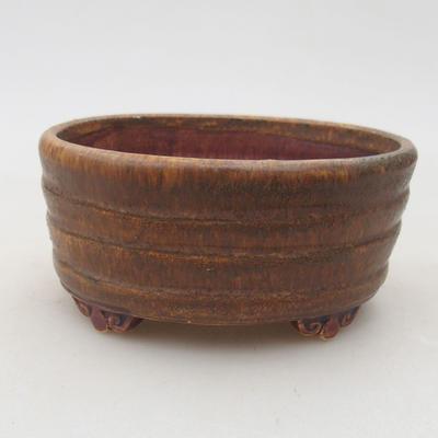 Ceramic bonsai bowl 10.5 x 9 x 4.5 cm, brown color - 1